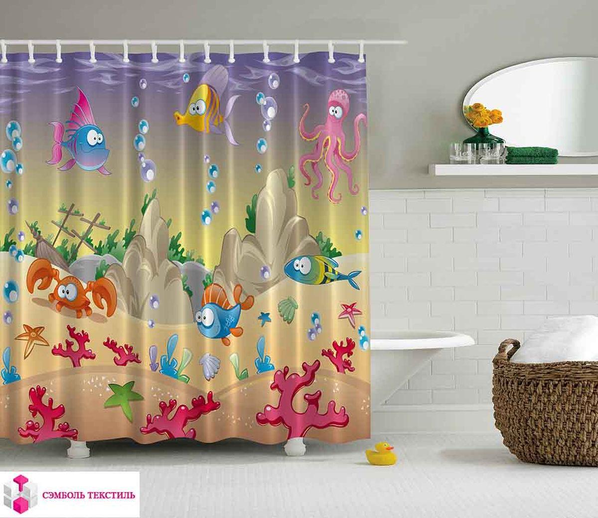 Штора для ванной комнаты Magic Lady Морские обитатели, 180 х 200 см штора для ванной комнаты magic lady дерево в волшебном лесу цвет коричневый оранжевый 180 х 200 см