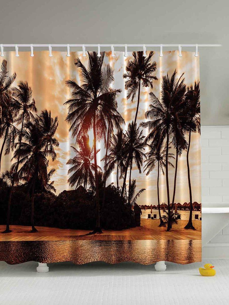 Штора для ванной комнаты Magic Lady Пальмы на закате, 180 х 200 см штора для ванной комнаты magic lady кроны над морем 180 х 200 см
