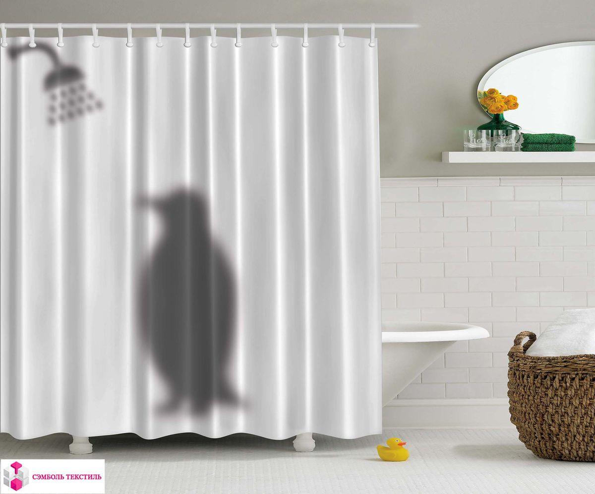 Штора для ванной комнаты Magic Lady Пингвин в ванне, 180 х 200 см штора для ванной комнаты magic lady дерево в волшебном лесу цвет коричневый оранжевый 180 х 200 см