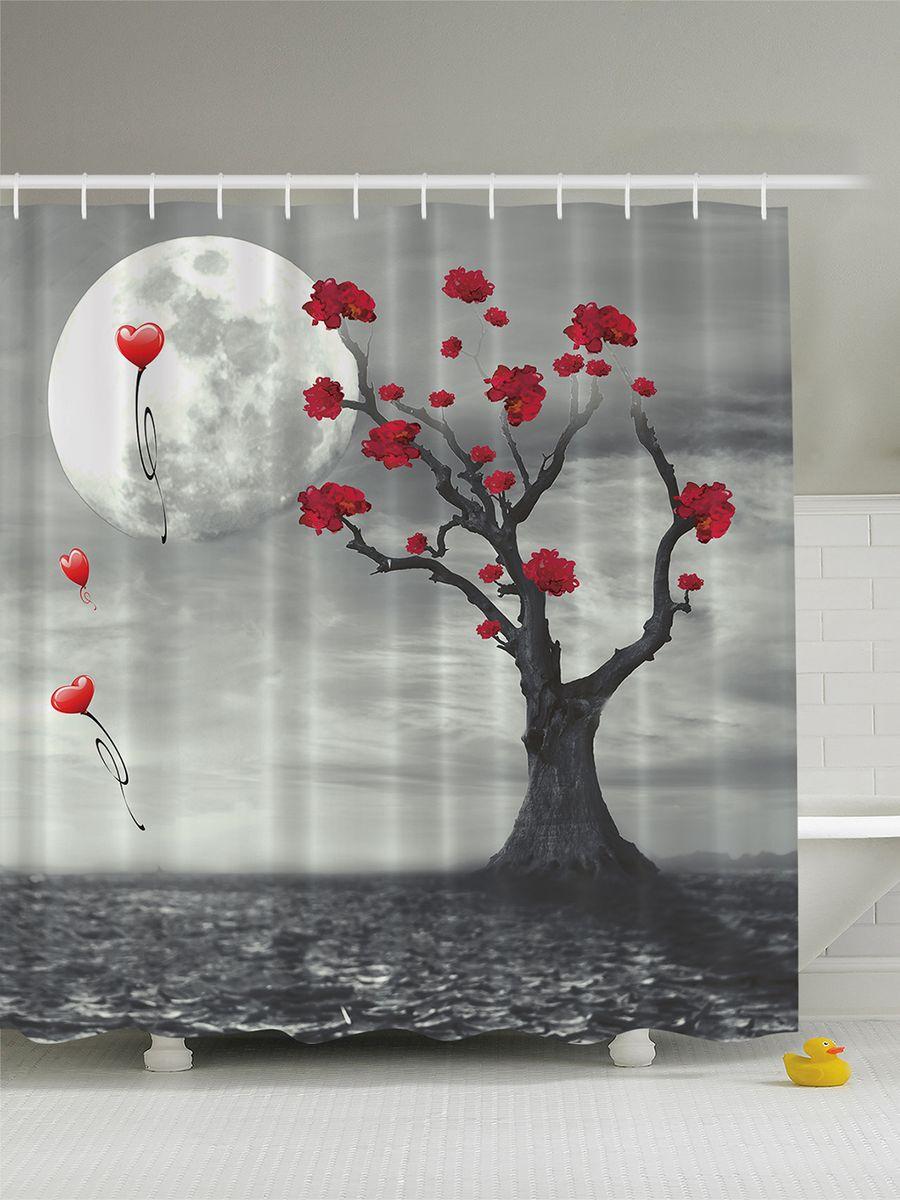 Штора для ванной комнаты Magic Lady Луна, пустыня, дерево, 180 х 200 см штора для ванной комнаты magic lady дерево в волшебном лесу цвет коричневый оранжевый 180 х 200 см