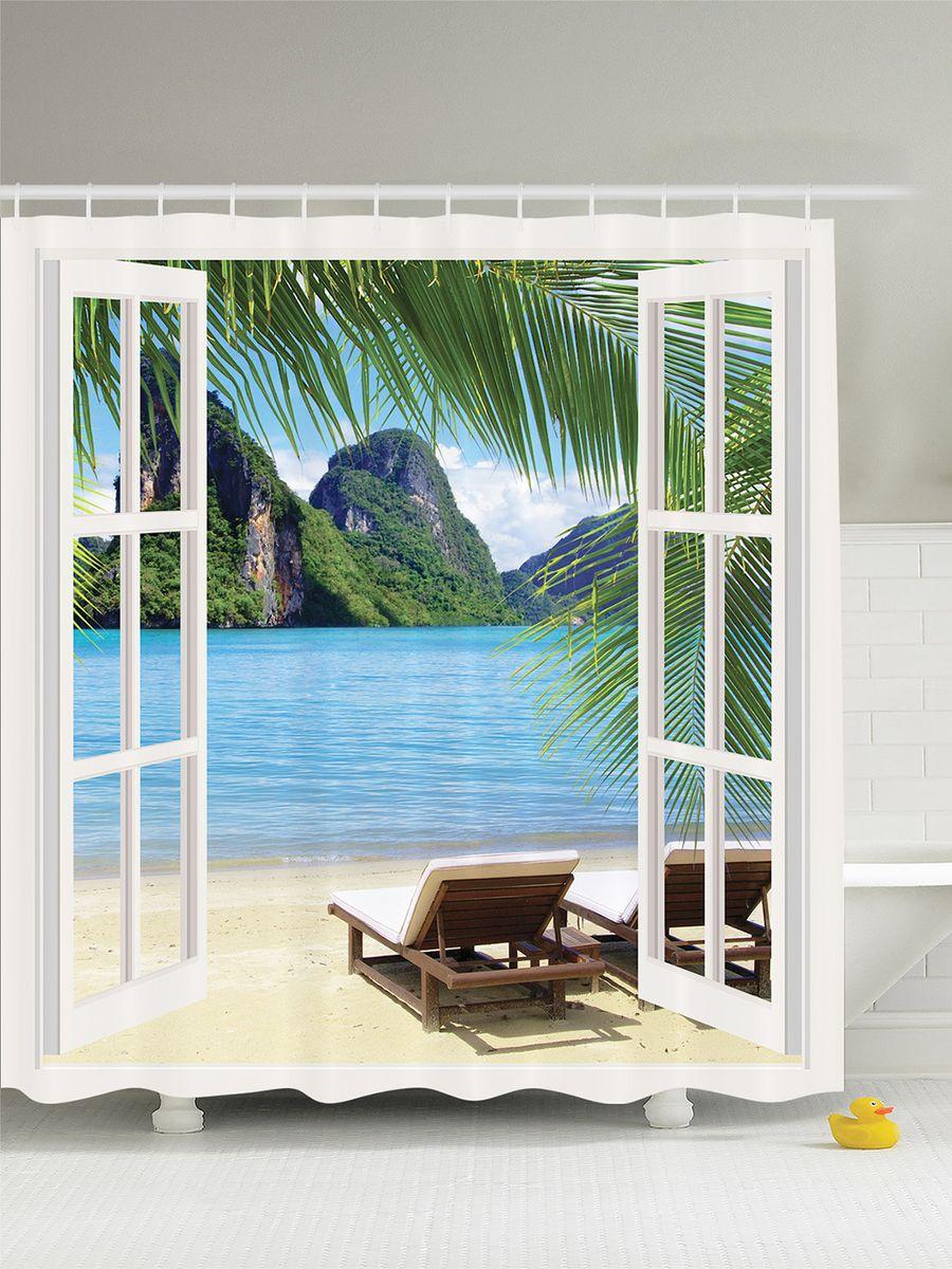 Штора для ванной комнаты Magic Lady Летний вид через дверь, 180 х 200 см для ванной дверь