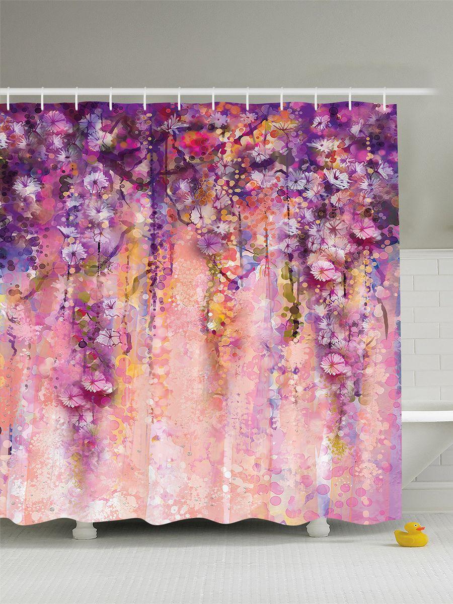Штора для ванной комнаты Magic Lady Цветущие лианы, 180 х 200 см штора для ванной комнаты magic lady разноцветные бабочки 180 х 200 см