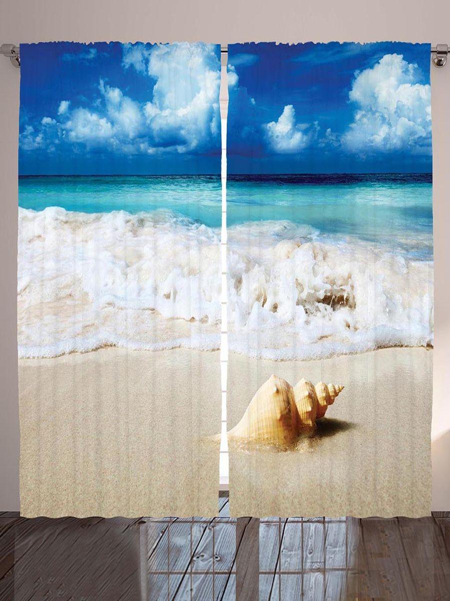"Комплект фотоштор Magic Lady ""Ракушка на песке"", на ленте, высота 265 см"