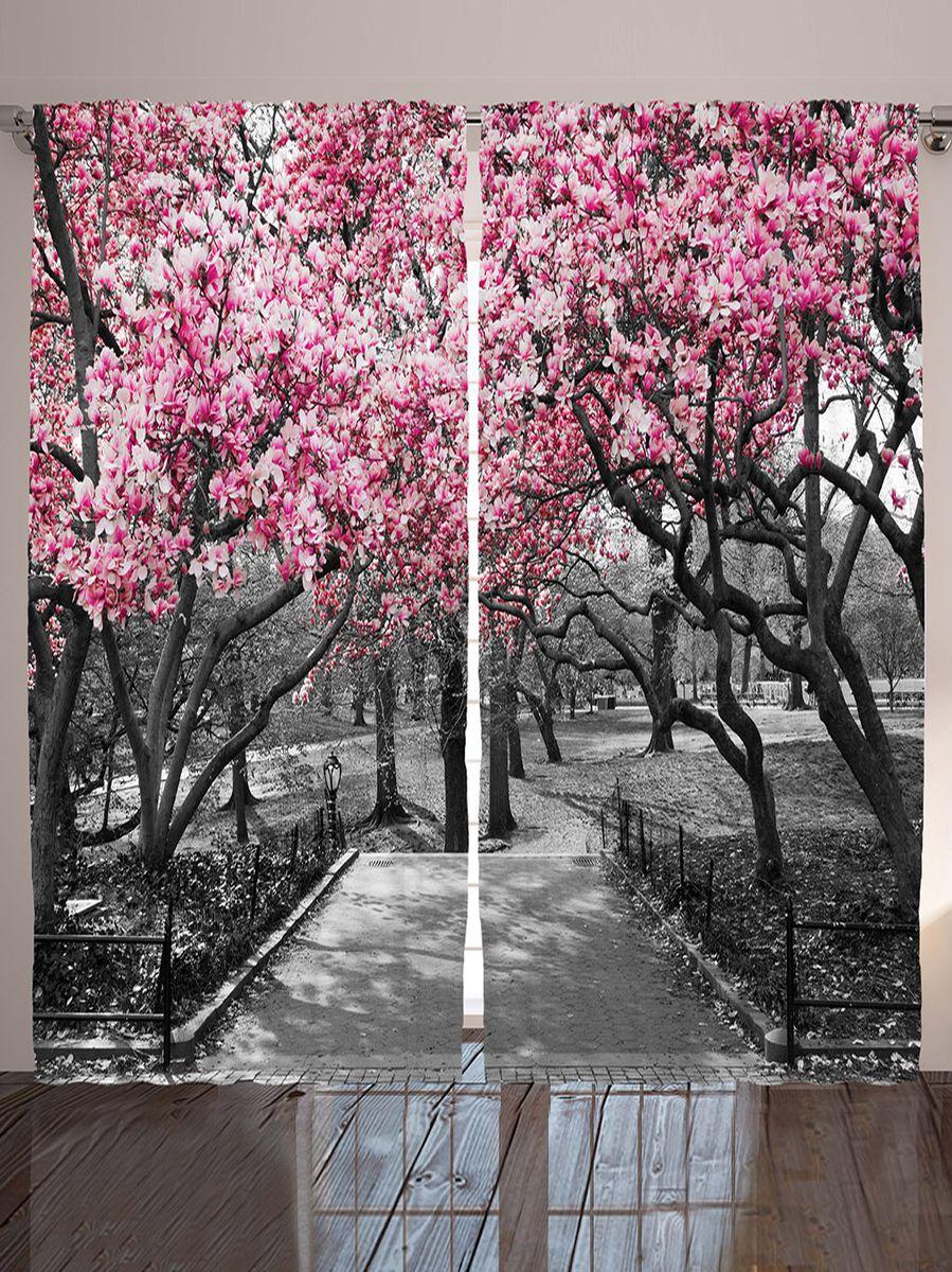 """Комплект фотоштор Magic Lady """"Розовое соцветие весной"""", на ленте, высота 265 см"""