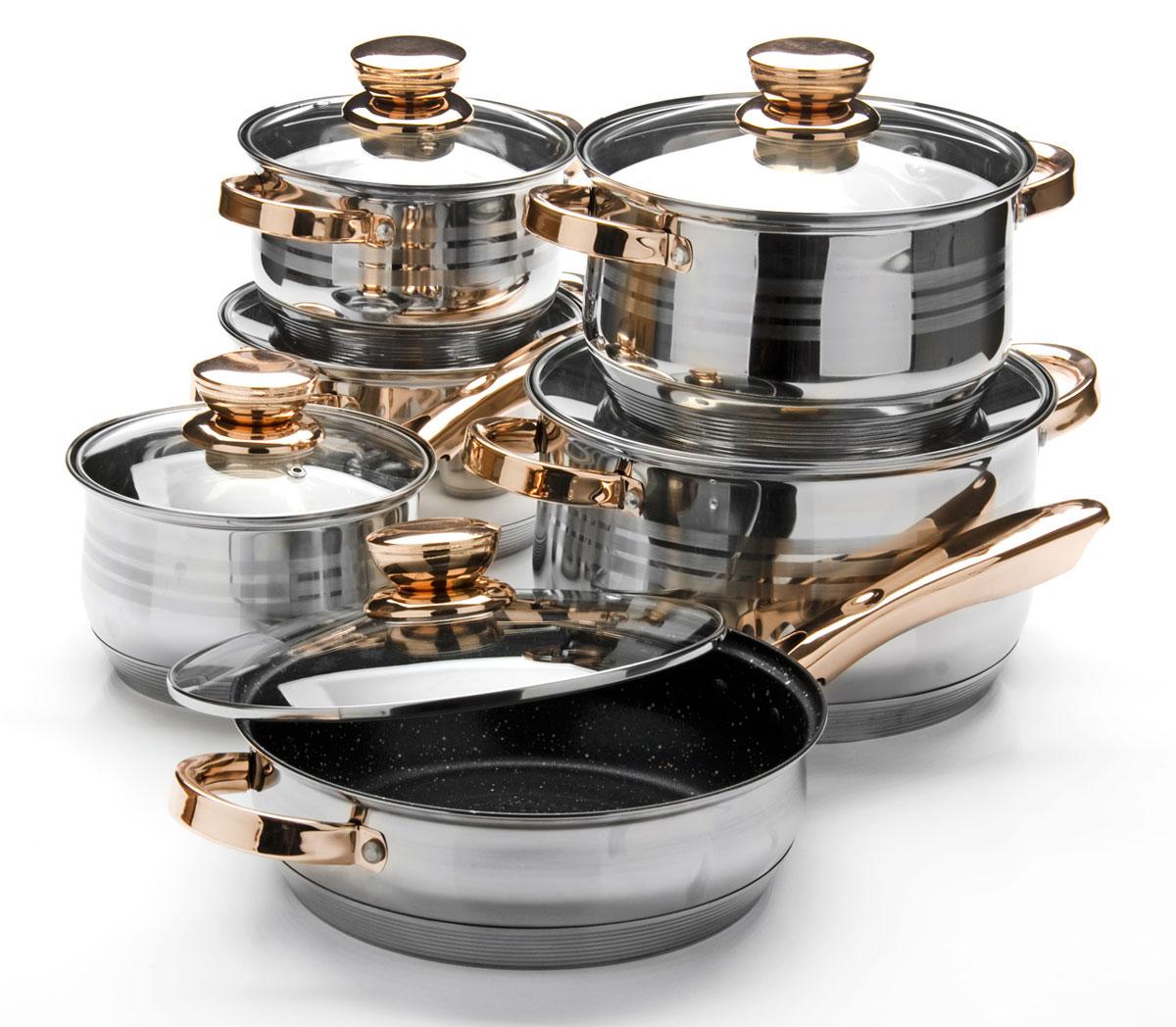 Набор посуды Mayer & Boch, 12 предметов. 2603426034Набор посуды Mayer & Boch изготовлен из высококачественной нержавеющей стали с толщиной стенок 4 мм и усиленным индукционным дном. Этот набор кастрюль предназначен для здорового и экологичного приготовления пищи, качественная сталь обеспечит быстрый нагрев продуктов и надолго сохранит тепло. Сковорода имеет внутреннее антипригарное покрытие (мраморная крошка). Изделия снабжены крышками из термостойкого стекла с паровыпуском и металлическим ободом, а также удобными не нагревающимися стальными ручками цвета розового золота. Внешняя поверхность посуды гладкая с зеркальной полировкой и гравировкой в форме колец. Изделия легко и просто моются. В комплекте 12 предметов: 4 кастрюли с крышками, 1 сотейник с крышкой, 1 сковорода с крышкой. Сотейник: (2,1 л) D16 х 10,5 см. Кастрюля: (2,1 л) D16 х 10,5 см. Кастрюля: (2,9 л) D18 х 11,5 см. Кастрюля: (3,9 л) D20 х 12,5 см. Кастрюля: (6,6 л) D24 х 14,5 см. Сковорода: (3,4 л) D24 х 7,5 см. Подходит для использования на всех типах плит, включая индукционные. Подходит для мытья в посудомоечной машине. Рекомендуем!
