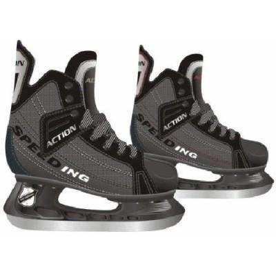 Коньки хоккейные мужские Action, цвет: серый, черный. PW-216. Размер 42 коньки хоккейные мужские bauer supreme s150 цвет черный 1048623 размер 47