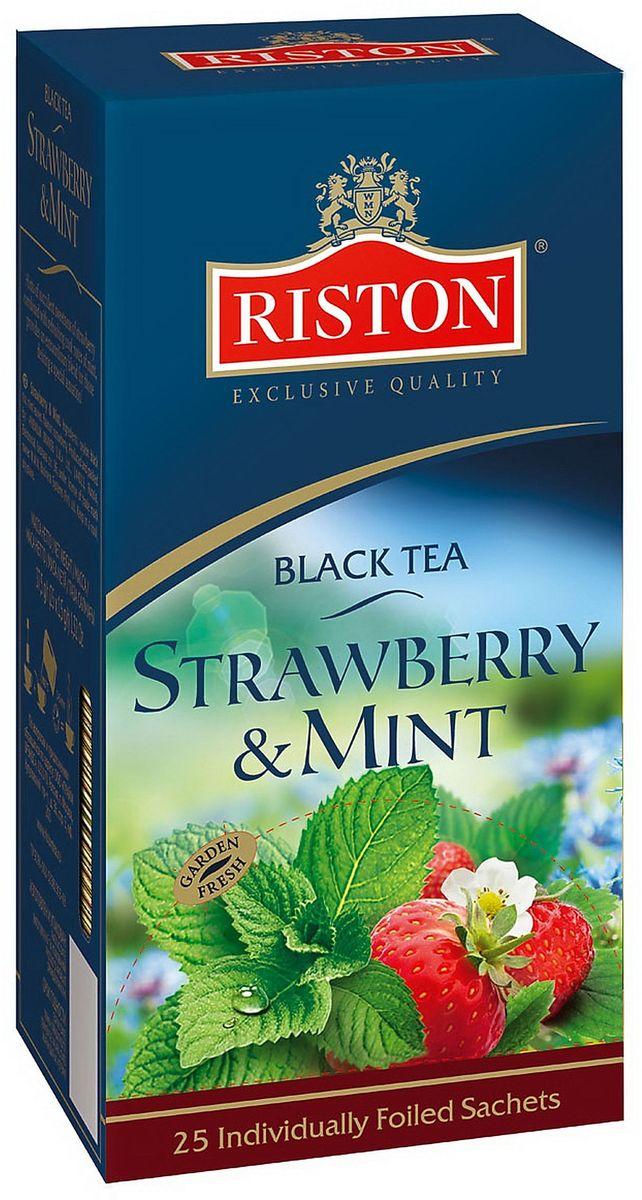 Riston Клубника и Мята черный чай в пакетиках, 25 шт riston фруктовое ассорти черный чай в пакетиках 25 шт