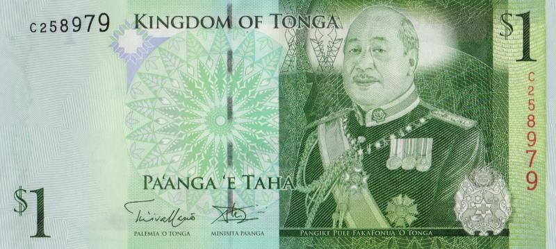 Банкнота номиналом 1 паанга. Тонга, 2014 год