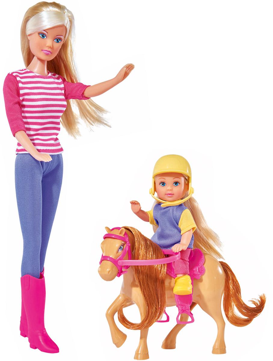 Simba Набор кукол Штеффи и Еви с пони на ферме набор кукол simba штеффи и еви принцессы