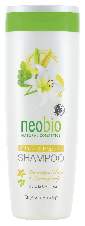 Neobio шампунь для восстановления и блеска волос с био-лилией и морингой 250 мл neobio детский гель для купания и пена для ванны с био алоэ и био календулой 250 мл