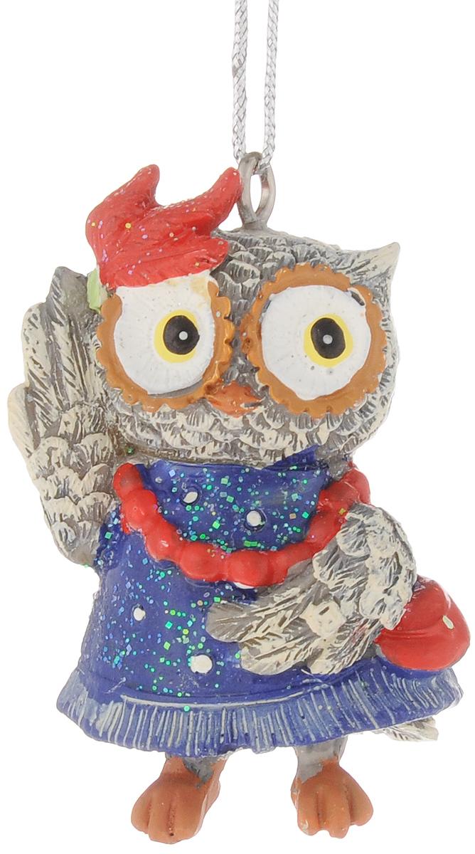 Украшение новогоднее подвесное Феникс-Презент Сова-модница, высота 5,7 см феникс презент украшение новогоднее подвесное сова пират из полирезины