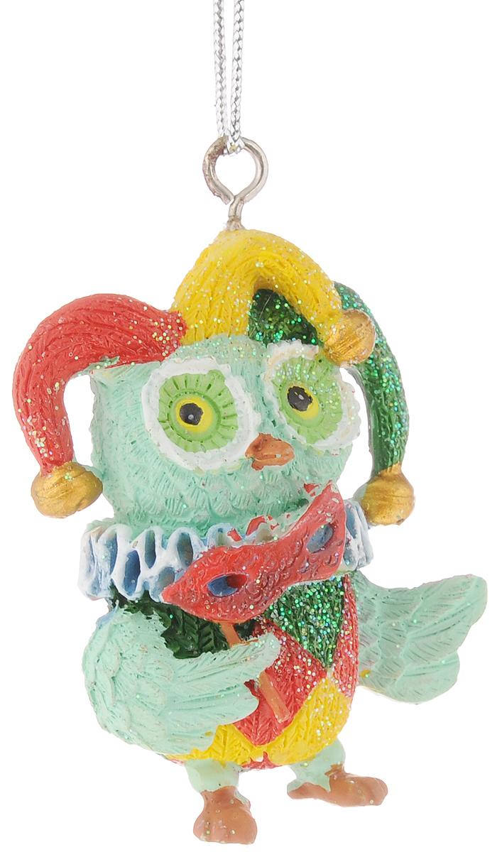 Украшение новогоднее подвесное Феникс-Презент Сова-клоун, высота 5,8 см феникс презент украшение новогоднее подвесное сова пират из полирезины