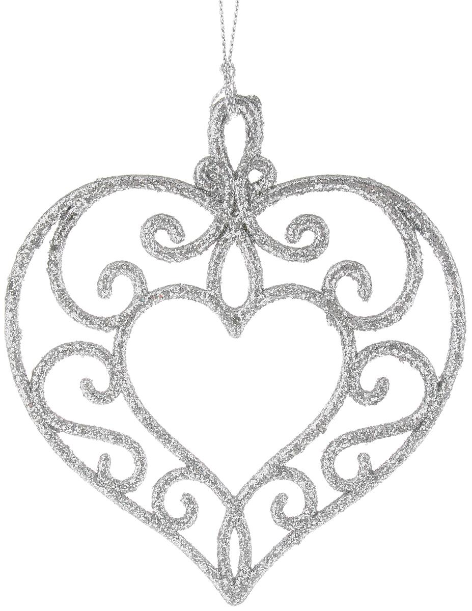 """Украшение новогоднее подвесное Magic Time """"Серебряное сердце"""", высота 10,5 см"""