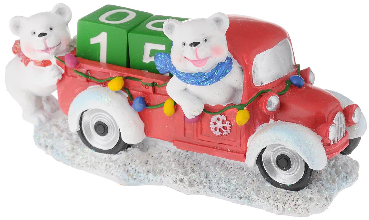 Календарь новогодний Феникс-Презент Северный мишка на машине, 16 х 9 х 8 см пакет подарочный феникс презент дед мороз с елкой 17 8 х 22 9 х 9 8 см