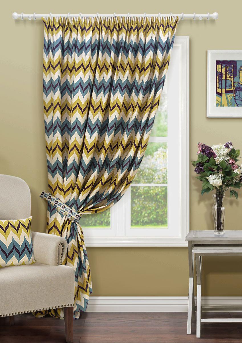 Штора Kauffort Фэил, на ленте, цвет: синий, желтый, белый, высота 270 см штора kauffort морская звезда на ленте цвет льняной синий высота 270 см 3111356276