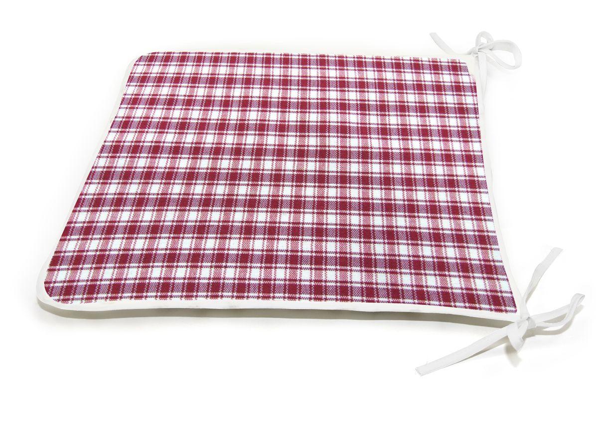 "Подушка на стул KauffOrt ""Коттедж"", цвет: красный, 39 x 40 см"