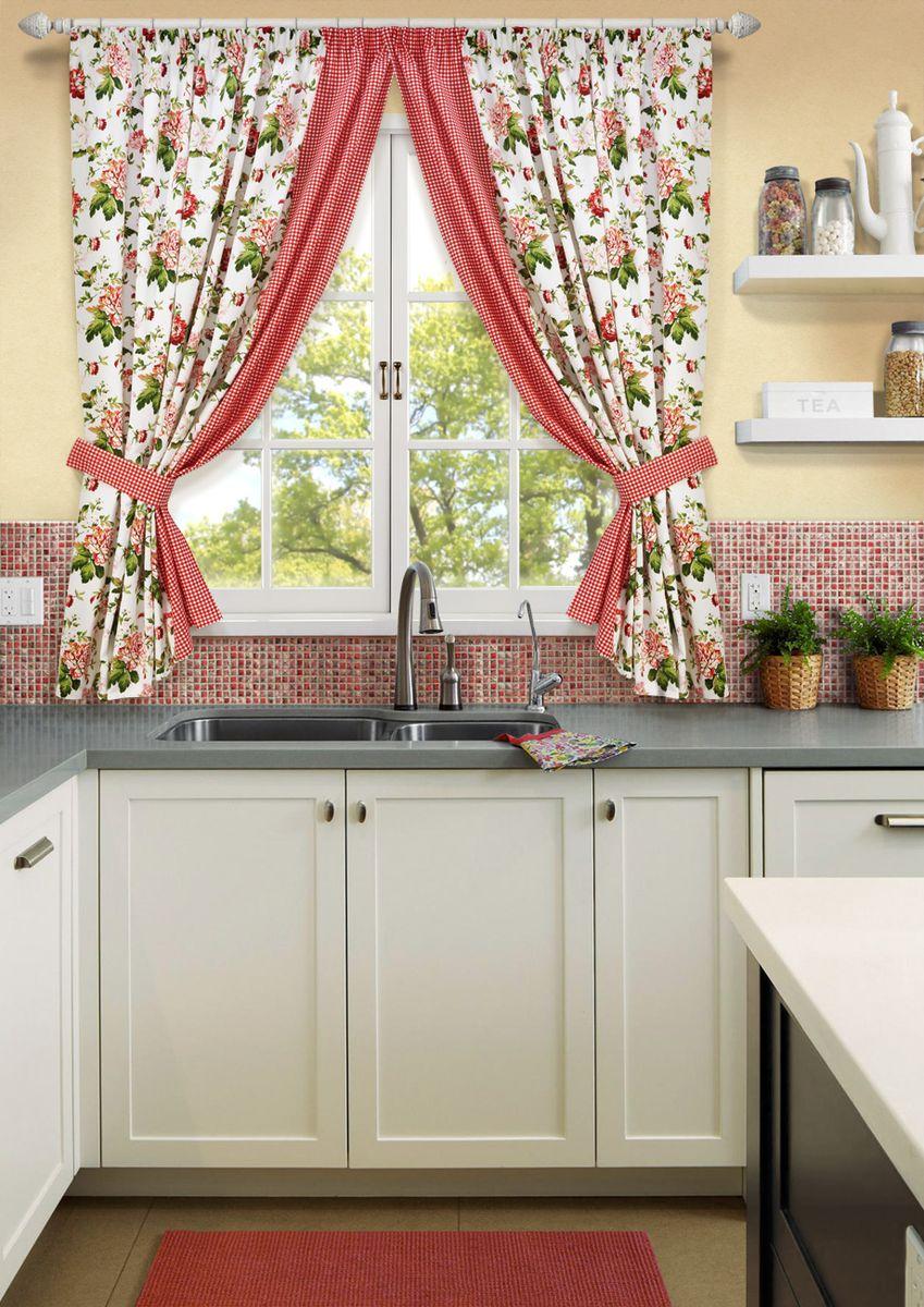 Комплект штор для кухни KauffOrt Лилу, на ленте: 2 портьеры 175 x 175см, 2 подхвата шторы для кухни drdeco шторы для кухни декоративные розы дизайн 20