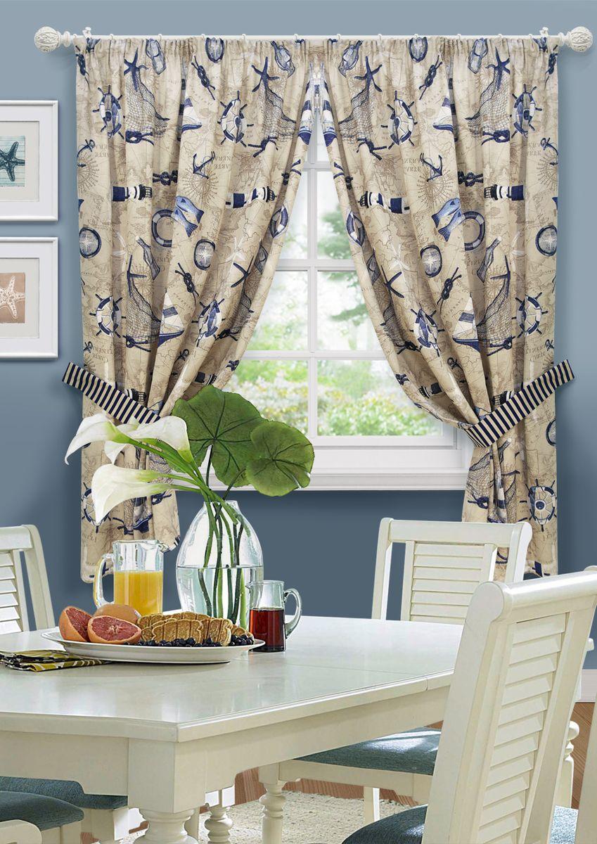 Комплект штор для кухни KauffOrt Фарос, на ленте: 2 шторы 136 x 175 см, 2 подхвата комплект штор для кухни kauffort мелодия на ленте 2 портьеры 170 x 175 см 2 подхвата