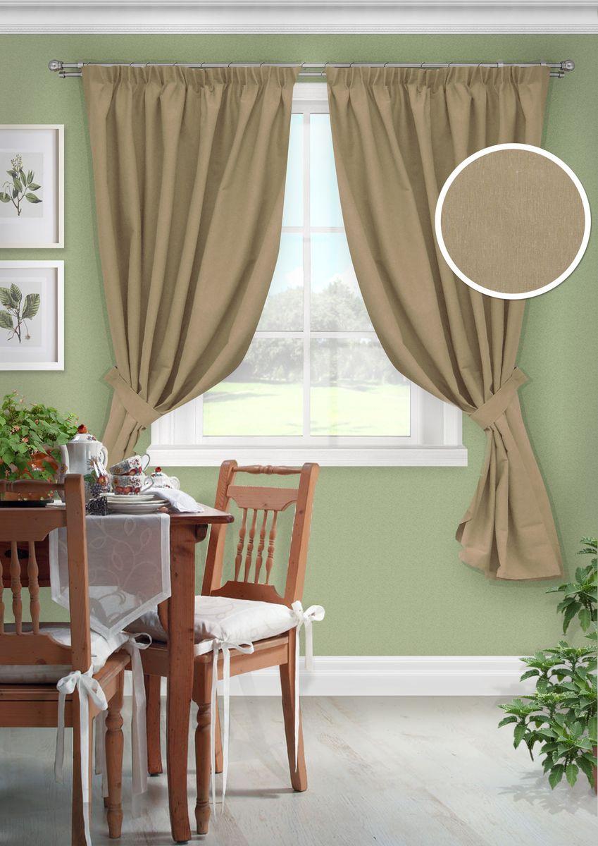 Комплект штор для кухни KauffOrt Натура, на ленте: 2 портьеры 136 x 175 см, 2 подхвата комплект штор для кухни kauffort мелодия на ленте 2 портьеры 170 x 175 см 2 подхвата