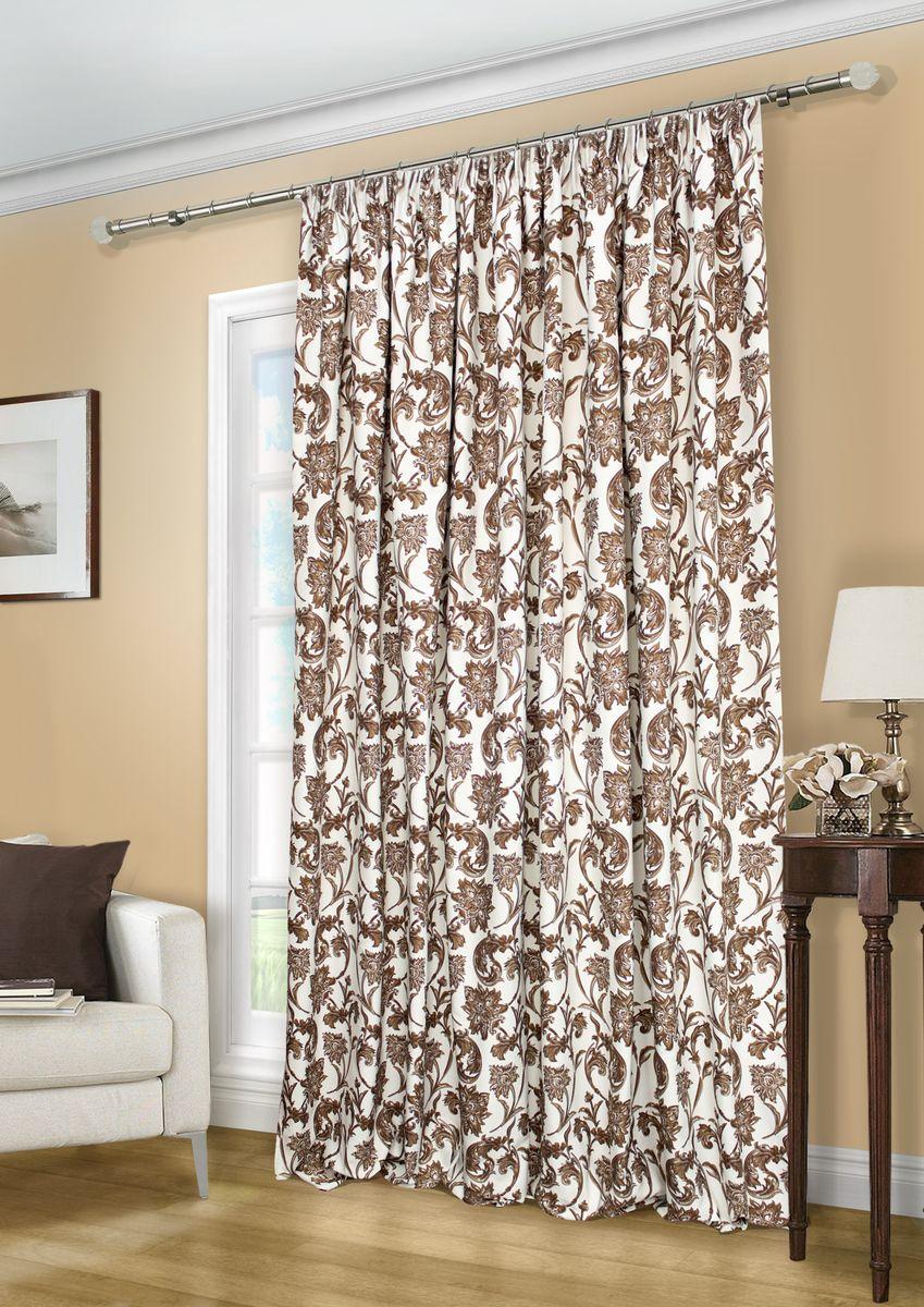 Штора Kauffort Руан, на ленте, с подхватом, цвет: коричневый, ширина 296 см, высота 270 см штора kauffort альфа на ленте с подхватом цвет серый высота 270 см