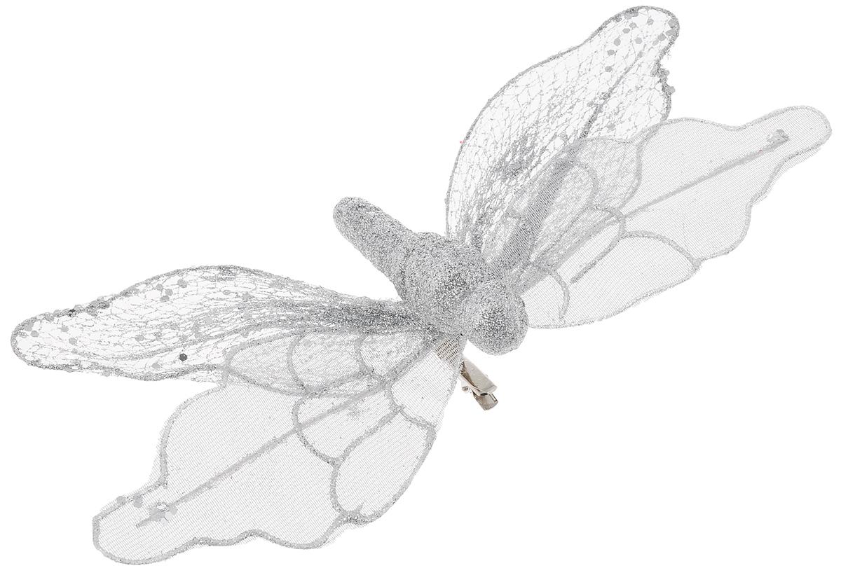 Украшение новогоднее Феникс-Презент Бабочка серебряная, на клипсе, 24 х 4 см вытяжка teka ls 60 white glass