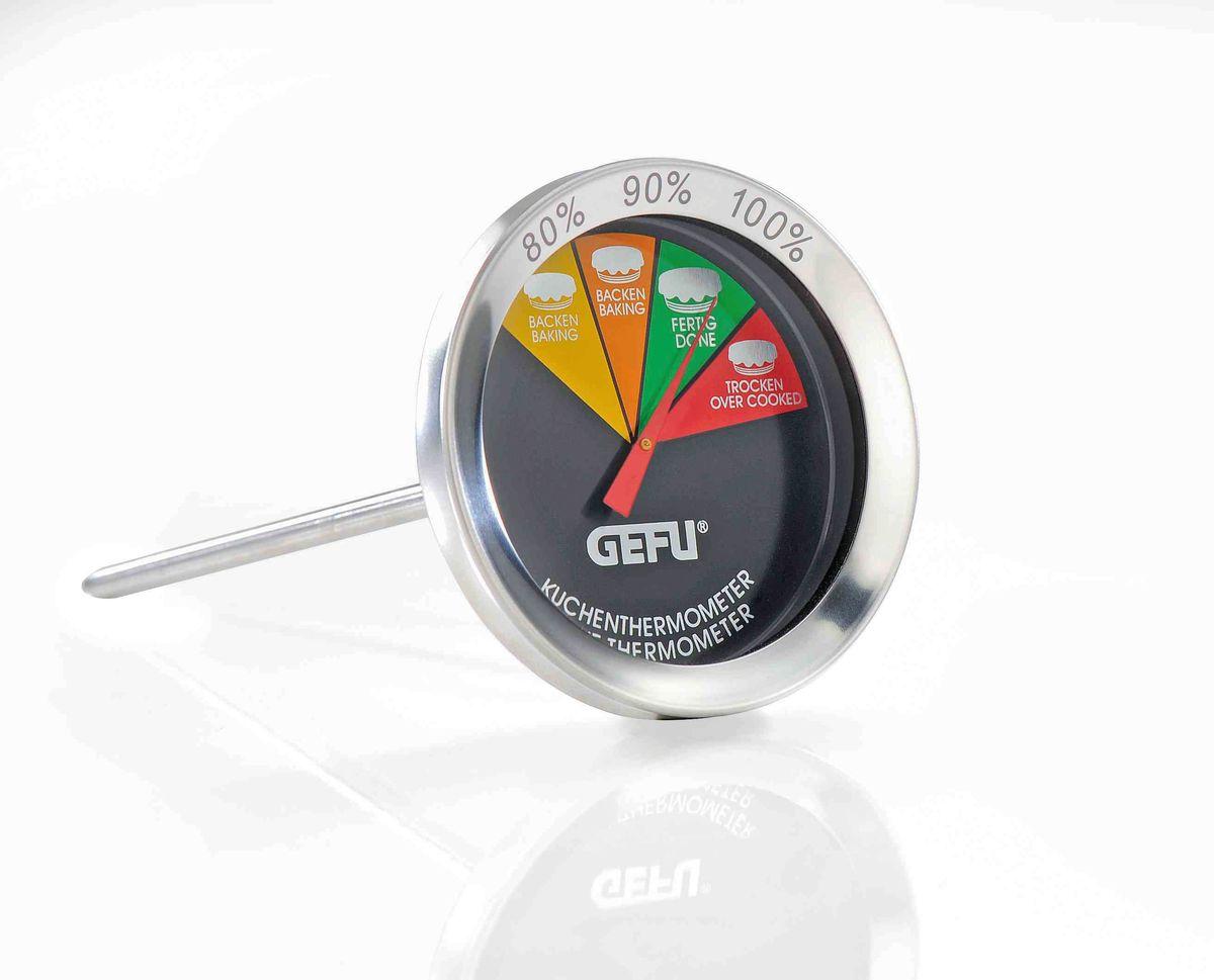 Термометр для выпечки Gefu21810Термометр для выпечки с легким для чтения дисплеем, позволит вам гарантированно добиться идеального выпекания пирогов, кексов, хлеба, ромовых баб и других изделий. Просто воткните щуп термометра в выпечку, когда консистенция изделия это позволит и выпекайте до готовности, согласно показаниям термометра. Длина щупа 10 см. Можно использовать в посудомоечной машине.