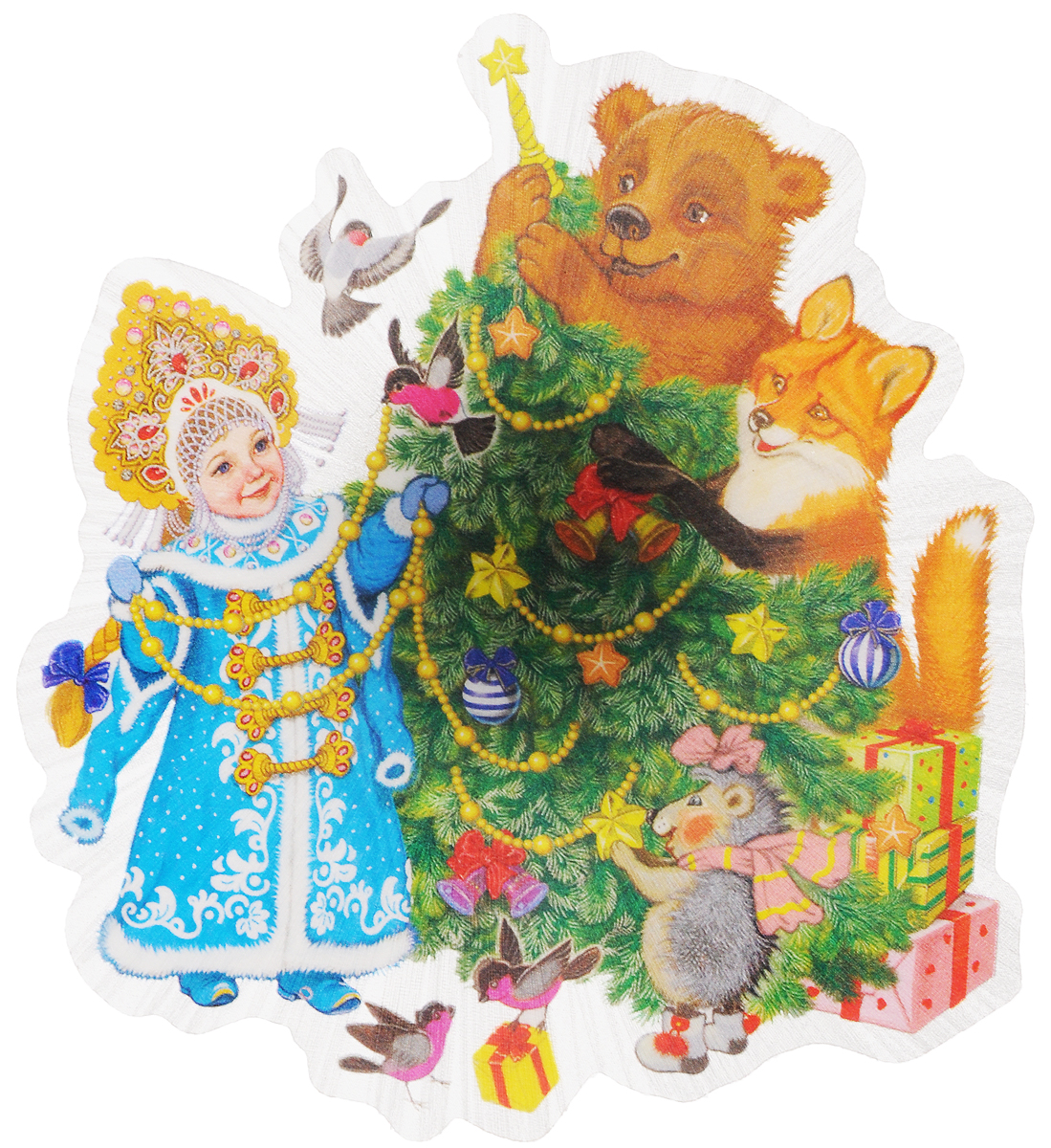 Украшение новогоднее Magic Time Снегурочка и зверята, со светодиодной подсветкой, 11,5 x 11,5 x 3 см украшение новогоднее оконное magic time снегурочка и зверята 30 х 38 см