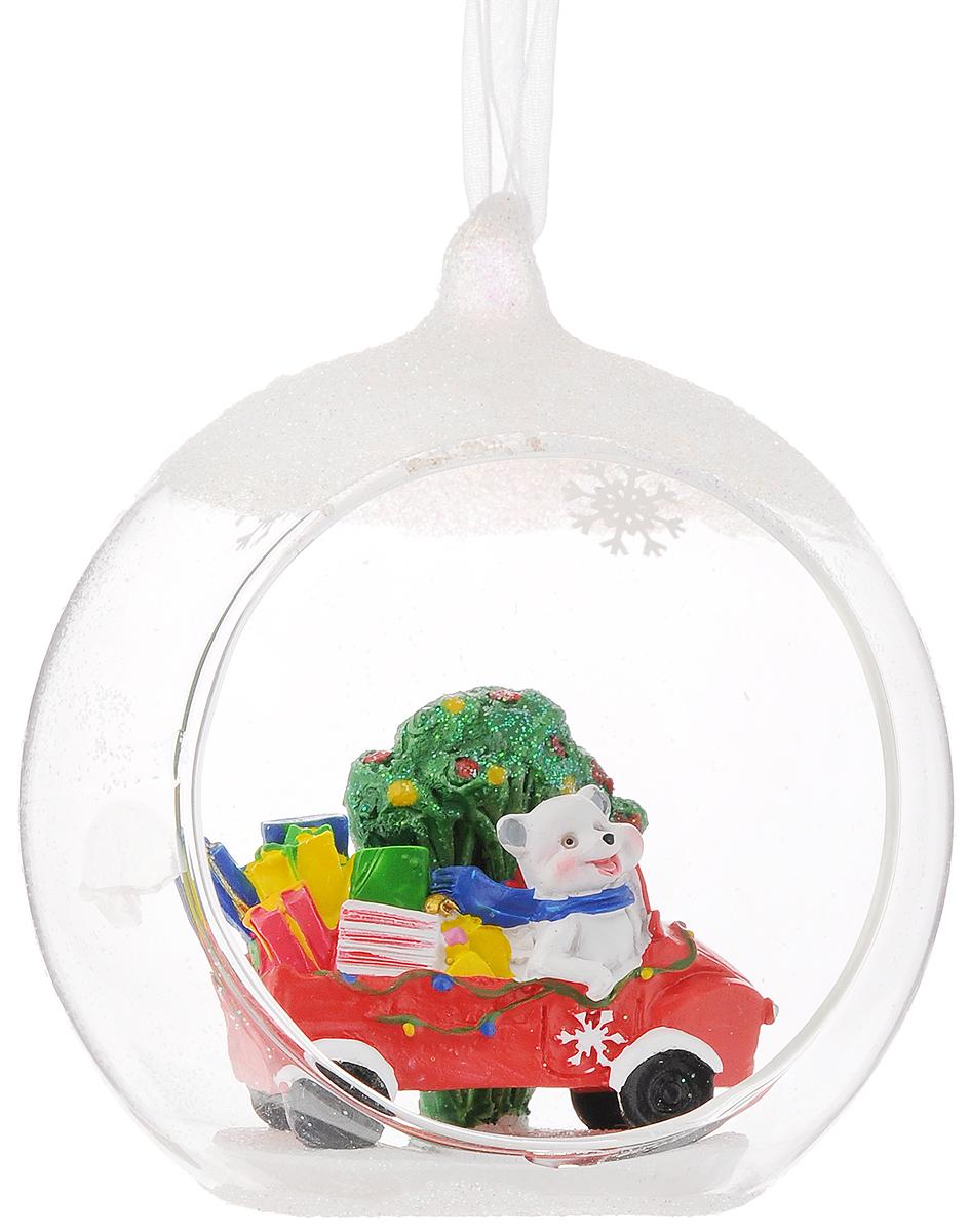 Украшение новогоднее подвесное Феникс-Презент Северный мишка на машине, 10,5 х 9 х 11 см цена