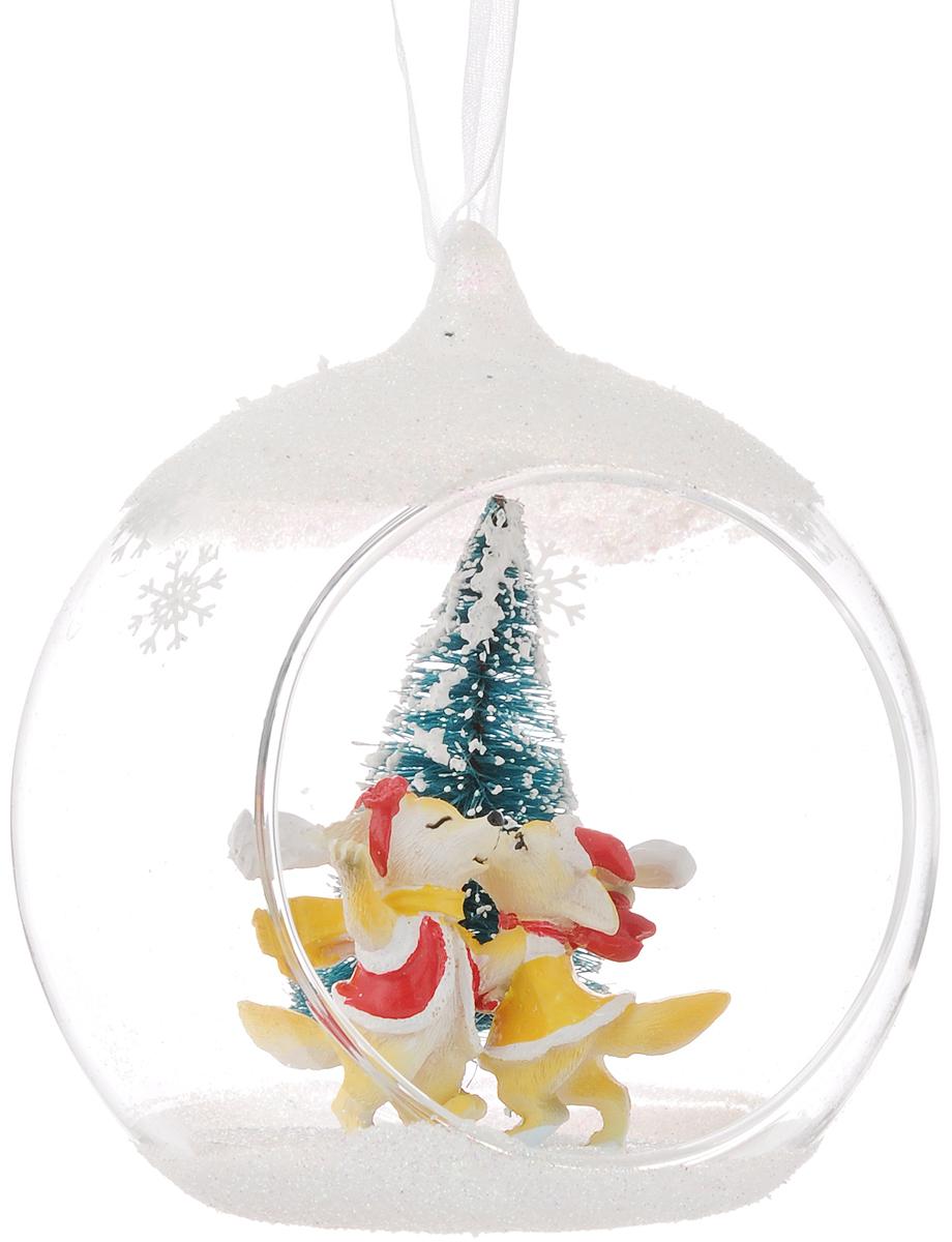 Украшение новогоднее подвесное Феникс-Презент Лисички, 10,5 х 9 х 11 см цена