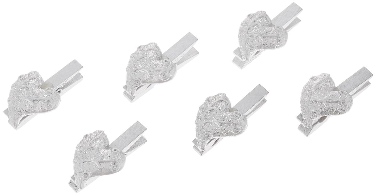 Набор новогодних украшений Феникс-Презент Серебряные сердца, на прищепках, 6 шт феникс презент набор украшений 5 шт