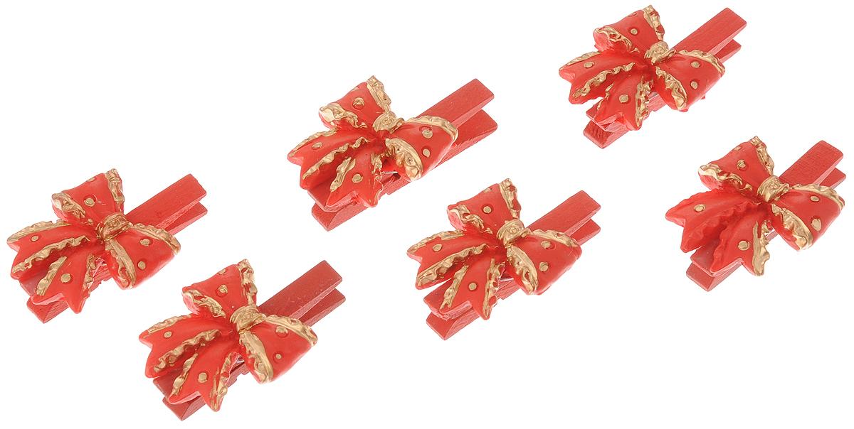 Набор новогодних украшений Феникс-Презент Бантики, на прищепках, 6 шт феникс презент набор украшений 5 шт