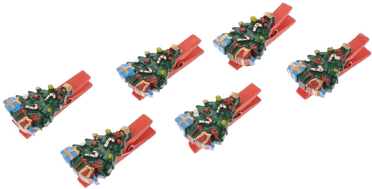Набор новогодних украшений Феникс-Презент Елочки с подарками, на прищепках, 6 шт феникс презент набор украшений 5 шт
