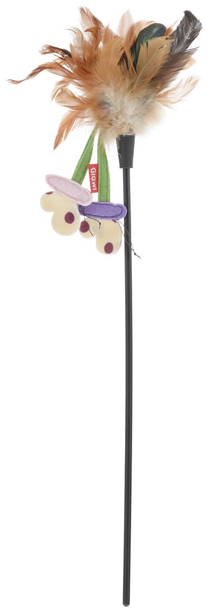 Игрушка для кошек GiGwi Дразнилка с перьями, на стеке, длина 52 см игрушка для кошек gigwi интерактивная мышка длина 8 5 см