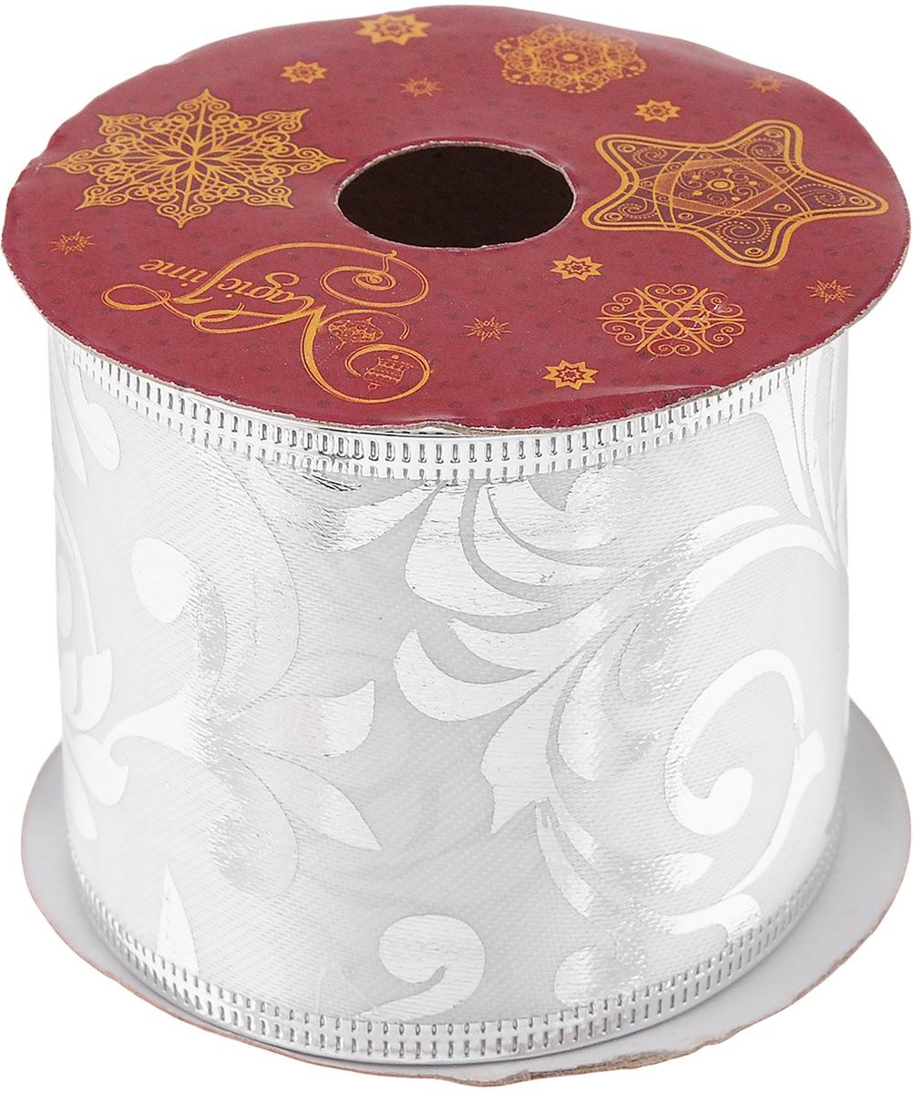 Лента новогодняя Magic Time Разводы, цвет: белый, серебристый, 6,3 см х 2,7 м новогодняя лента magic time золотое конфетти 78641