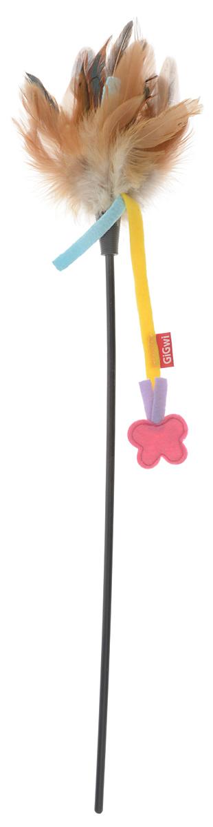 Игрушка для кошек GiGwi Дразнилка с бабочкой, цвет: коричневый, длина 51 см игрушка для кошек gigwi интерактивная мышка длина 8 5 см