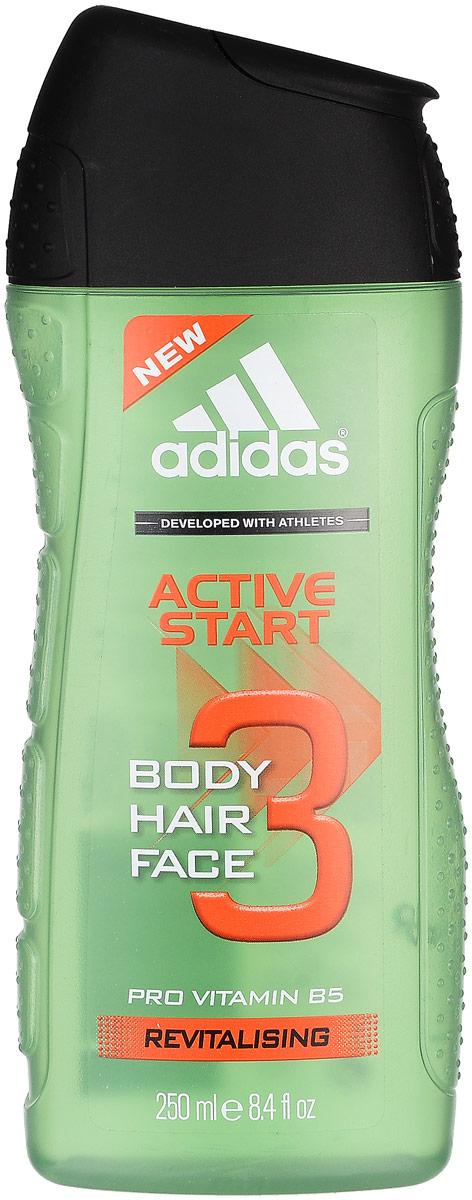 "Adidas ""Body-Hair-Face Active Start"". Гель для душа. Шампунь и гель для умывания для мужчин, 250 мл"