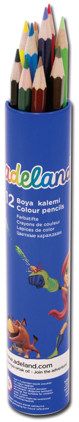 Adel Набор цветных карандашей Adeland 12 шт adel adel карандаши цветные colour в алюминиевом тубусе 12 цветов