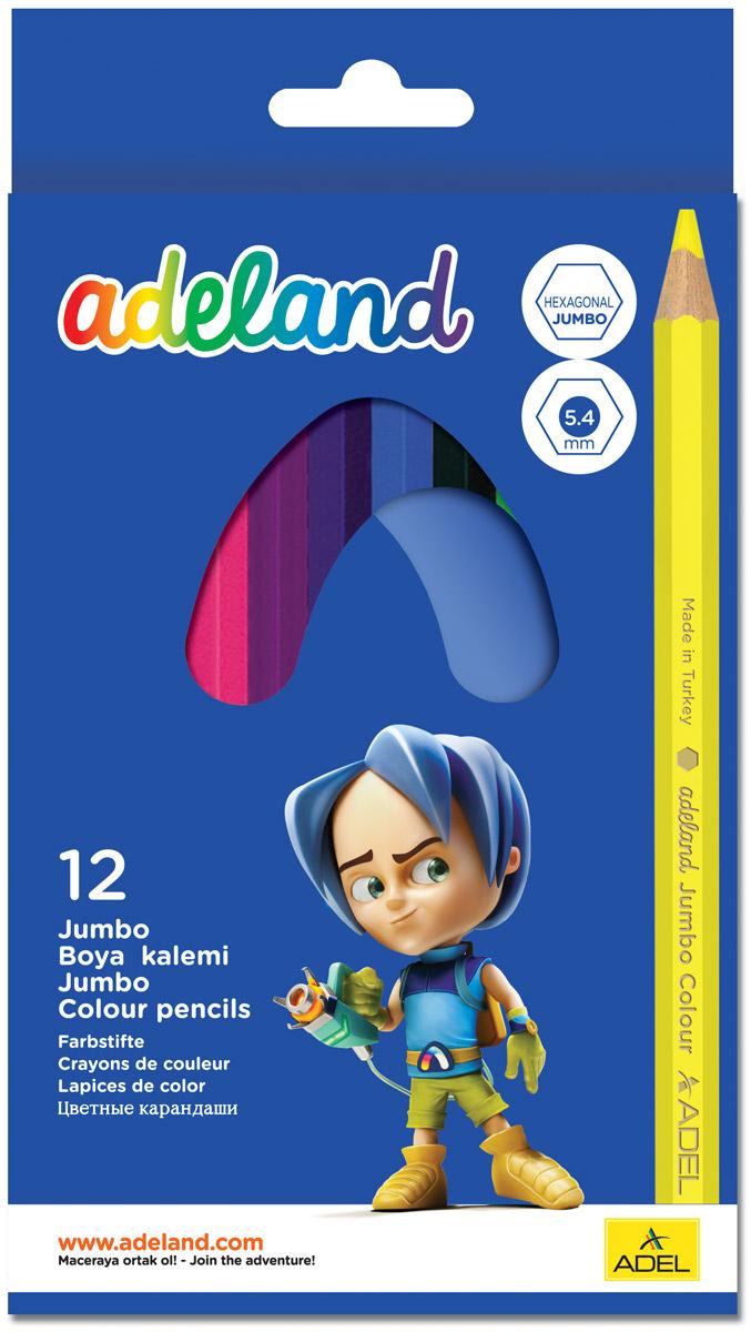 цена Adel Набор цветных карандашей Adeland Jumbo Hexa 12 шт 211-9510-100 онлайн в 2017 году