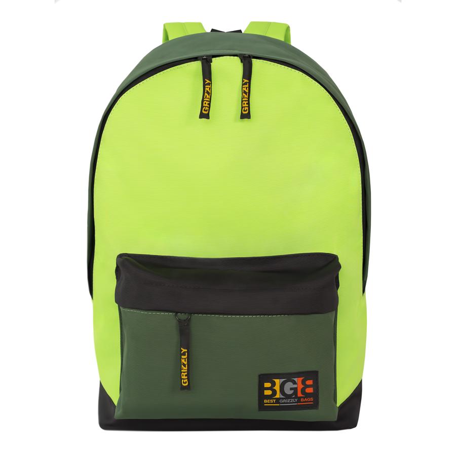 Рюкзак молодежный Grizzly, цвет: черный, салатовый. 18 л. RU-704-3/2 рюкзак городской grizzly цвет салатовый коричневый 23 л ru 619 2 2
