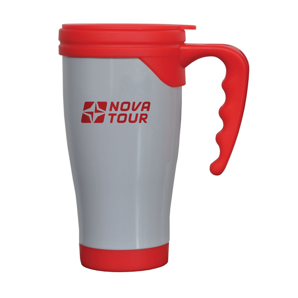 """Термокружка Nova Tour """"Сильвер"""", цвет: серый, красный, 0,4 л"""