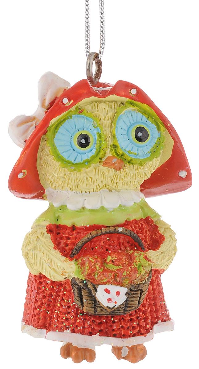 Украшение новогоднее подвесное Феникс-Презент Сова с корзинкой, высота 5,8 см феникс презент украшение новогоднее подвесное сова пират из полирезины