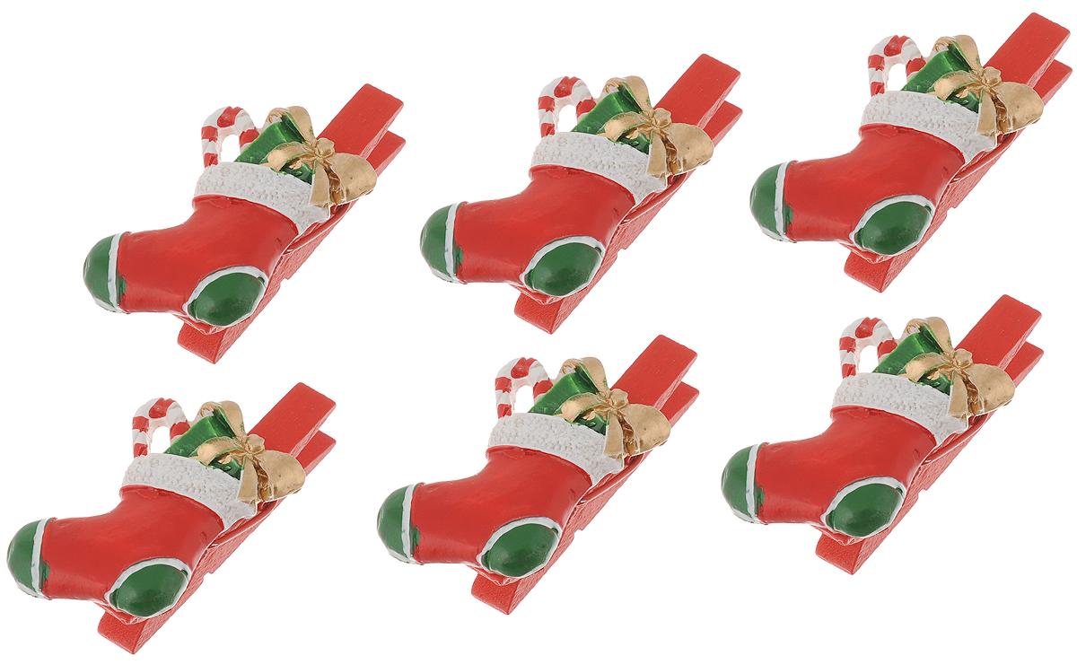 Набор новогодних украшений Феникс-Презент Носочки с подарками, на прищепках, 6 шт феникс презент набор украшений 5 шт