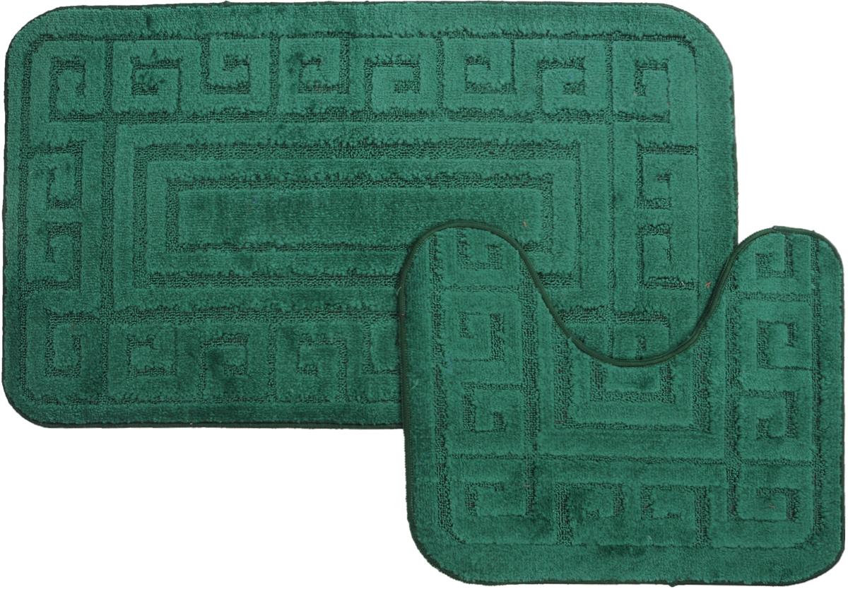 "Набор ковриков для ванной MAC Carpet ""Рома. Версаче"", цвет: темно-зеленый, 60 х 100 см, 50 х 60 см, 2 шт"
