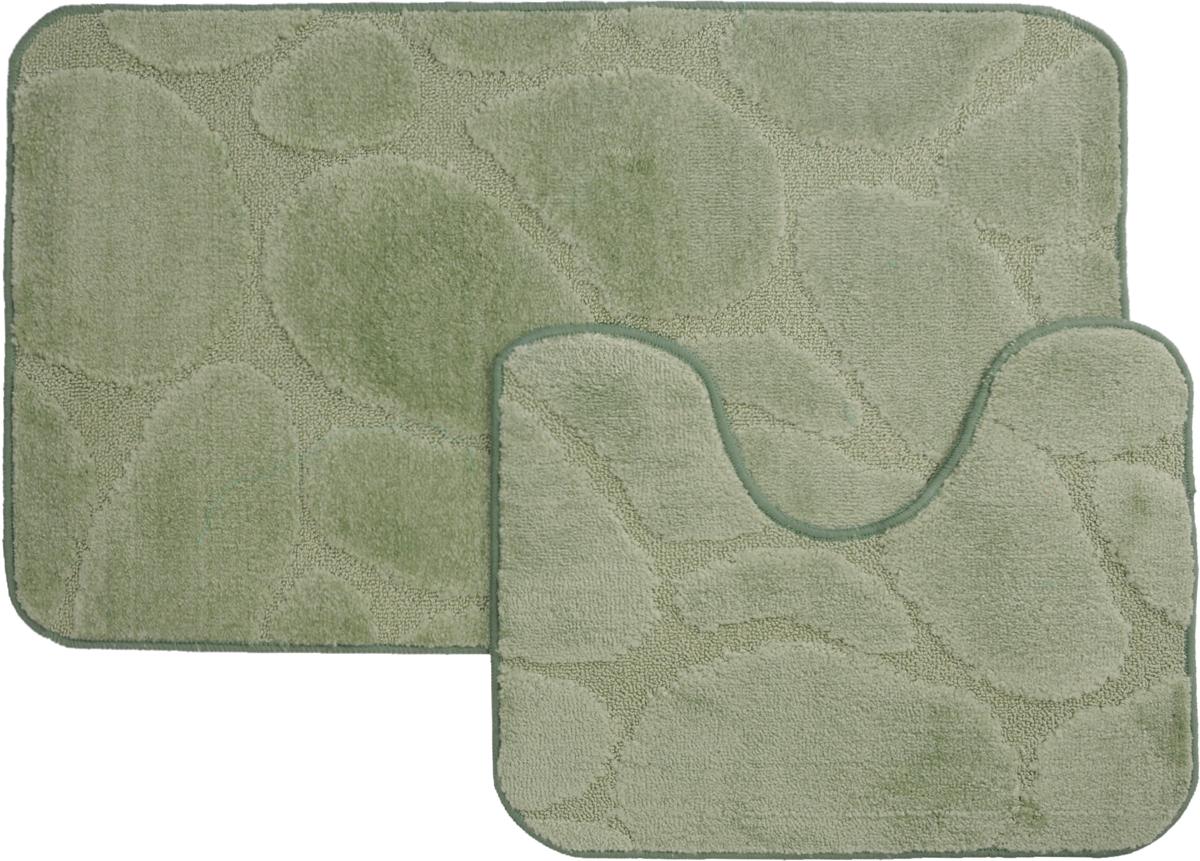"""Набор ковриков для ванной MAC Carpet """"Рома. Камни"""", цвет: светло-зеленый, 60 х 100 см, 50 х 60 см, 2 шт"""