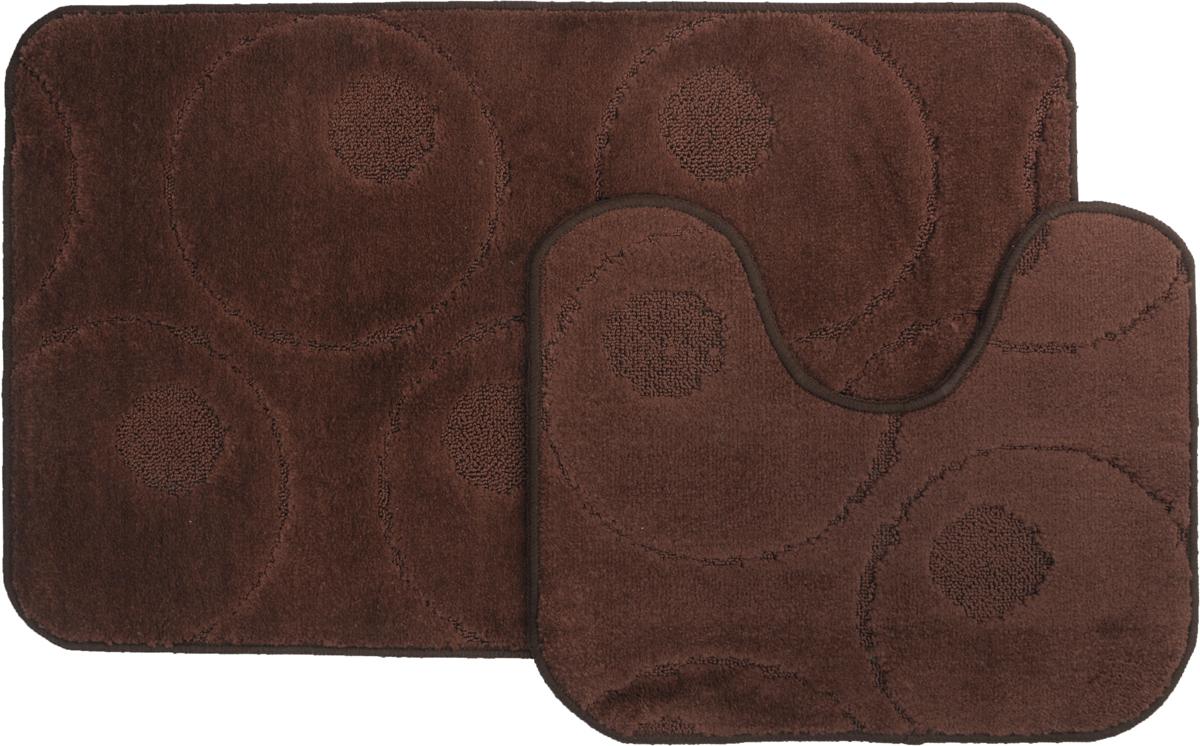 Набор ковриков для ванной MAC Carpet Рома. Круги, цвет: темно-коричневый, 60 х 100 см, 50 х 60 см, 2 шт коврик для ванной mac carpet розетта цвет коричневый розовый 57 х 60 см