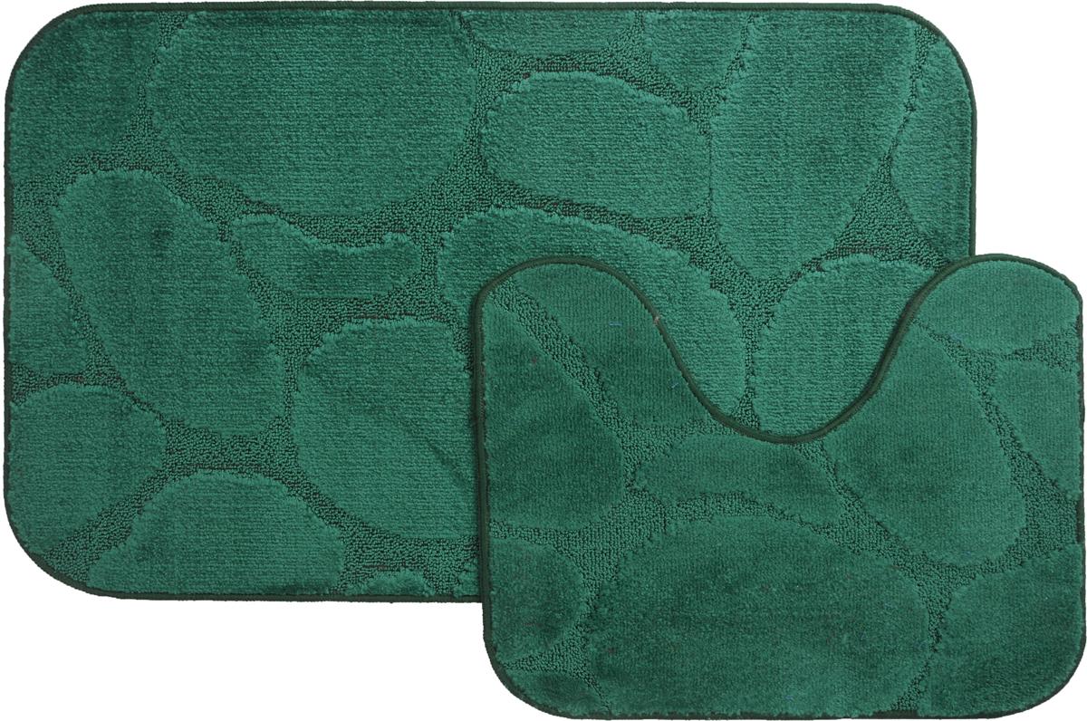 "Набор ковриков для ванной MAC Carpet ""Рома. Камни"", цвет: темно-зеленый, 60 х 100 см, 50 х 60 см, 2 шт"