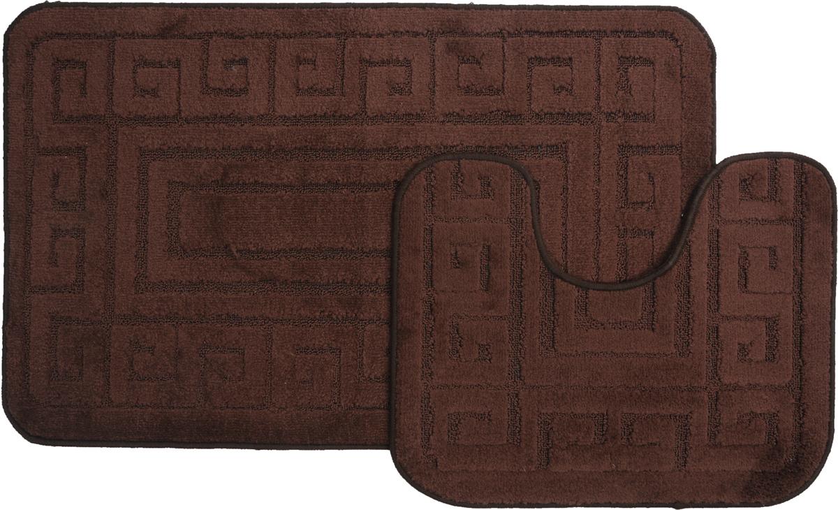 "Набор ковриков для ванной MAC Carpet ""Рома. Версаче"", цвет: темно-коричневый, 60 х 100 см, 50 х 60 см, 2 шт"