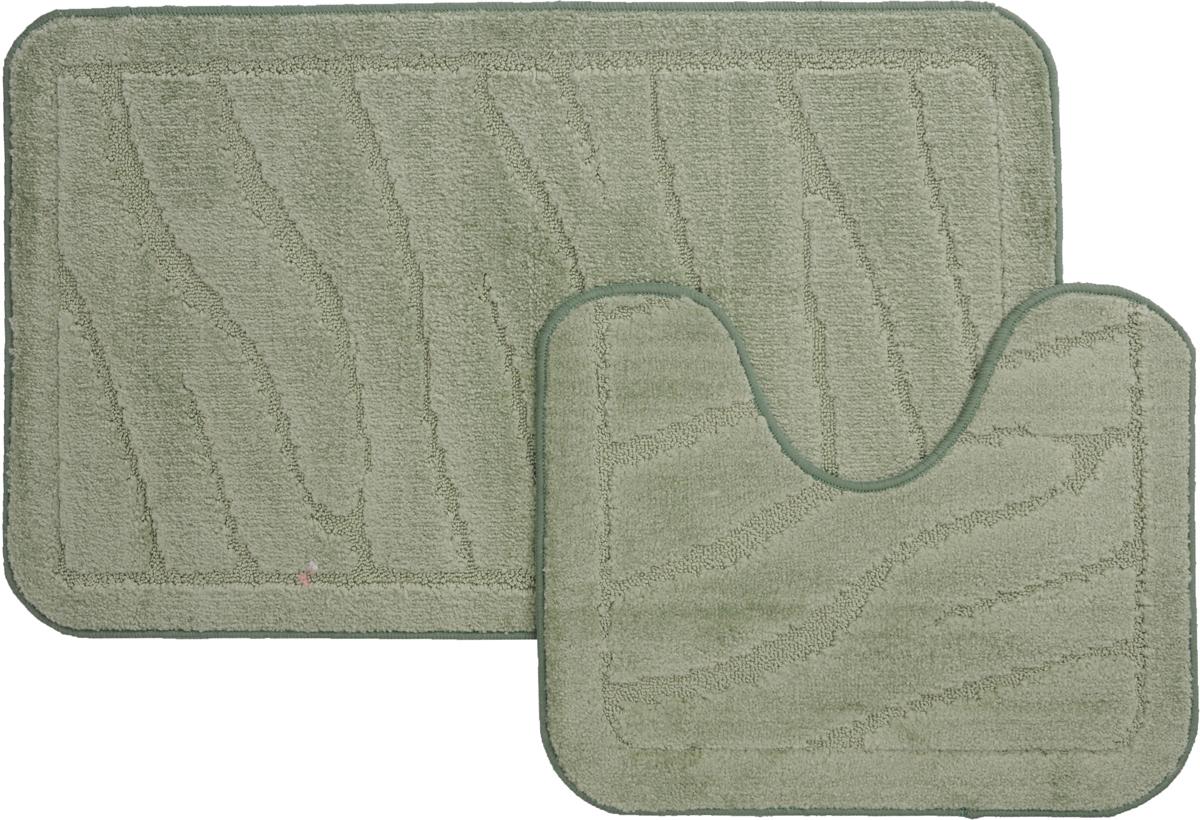 """Набор ковриков для ванной MAC Carpet """"Рома. Линии"""", цвет: светло-зеленый, 60 х 100 см, 50 х 60 см, 2 шт"""
