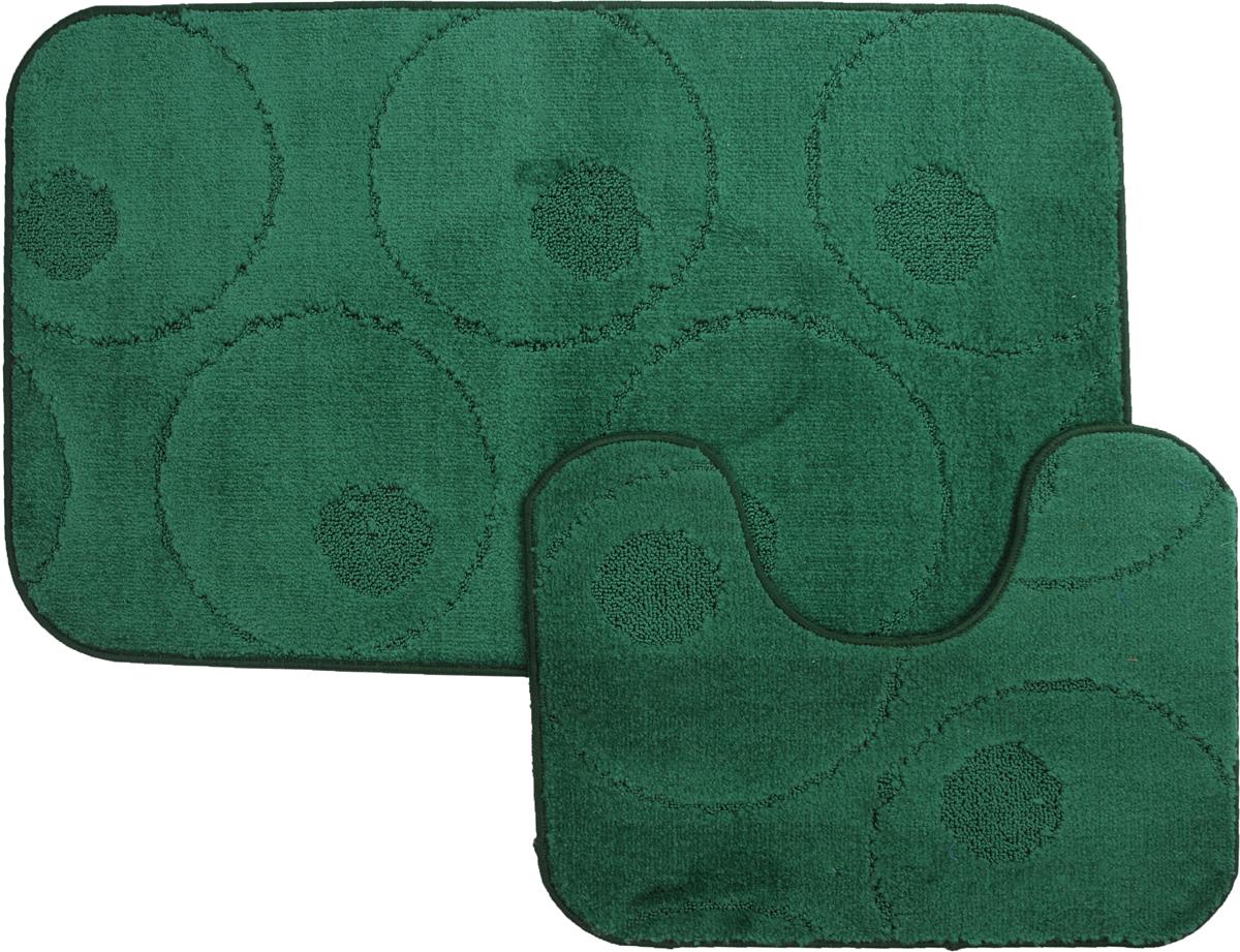 "Набор ковриков для ванной MAC Carpet ""Рома. Круги"", цвет: темно-зеленый, 60 х 100 см, 50 х 60 см, 2 шт"