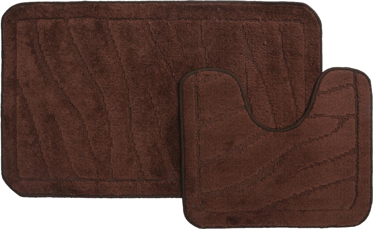 "Набор ковриков для ванной MAC Carpet ""Рома. Линии"", цвет: темно-коричневый, 60 х 100 см, 50 х 60 см, 2 шт"